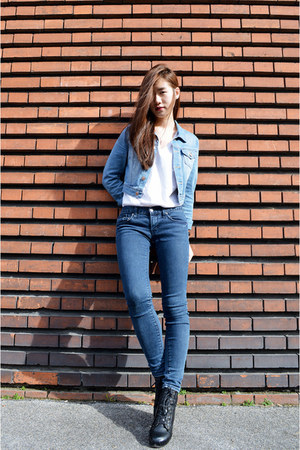 blue denim jacket H&M jacket - navy jeans zipia jeans