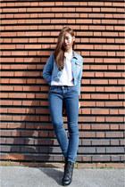 blue denim jacket H&M jacket - navy jeans zipia jeans