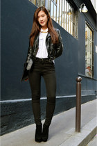 black H&M jacket - white Pull & Bear shirt - black zipia pants