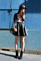 black Nasty Gal boots - black pleather zipia hat - black faux leather asos skirt