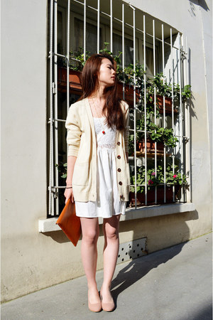 cream zipia cardigan - ivory lace H&M dress - neutral pleather zipia wedges