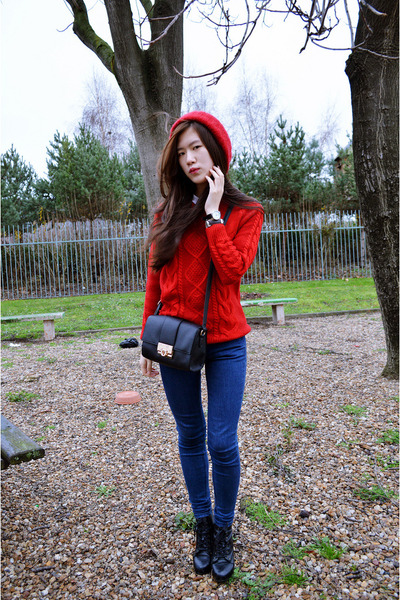 red Sheinside sweater - black zipia boots - blue zipia jeans - black asos bag