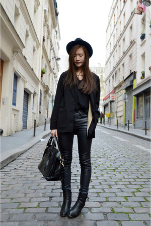 black H&M blazer - black pleather zipia pants