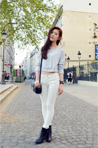 white zipia pants - black Pomme Passion boots - periwinkle crop top Topshop top