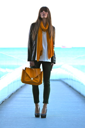 light orange H&amp;M bag - black BLANCO blazer - green Lefties pants