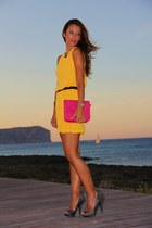 mustard Sfera dress - hot pink BLANCO bag - black Zara heels