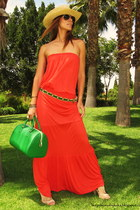 carrot orange mango old dress - chartreuse fun&basics bag - camel Sfera sandals