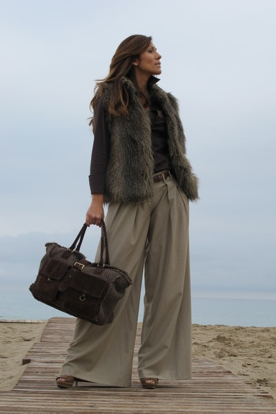 bag - blouse - pants - coat - heels