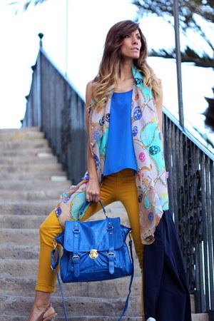 aquamarine Capriche scarf - blue pull&bear bag - mustard Sfera pants