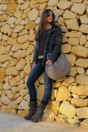 green jacket - navy jeans - charcoal gray boots - dark brown bag - dark brown sw
