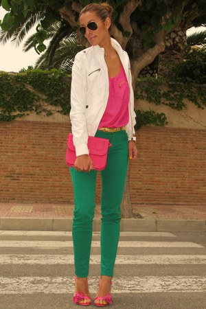 green Sfera pants - off white Alcott jacket - hot pink Zara shirt