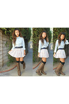 brown pleather boots - light blue denim shirt - navy socks - cream floral skirt