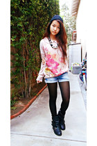 light pink flower Forever 21 sweater - black beanie H&M hat - black tights
