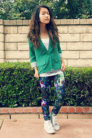 black floral H&M leggings - green foreign exchange blazer