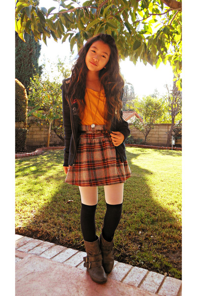 heather gray plaid Old Navy skirt - charcoal gray leather boots - mustard shirt