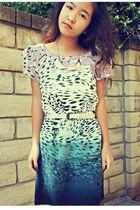teal printed Urban Outfitters dress - light pink lace tights - silver necklace