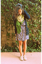 navy floral dress - ivory burlap TOMS shoes - lime green gradient scarf