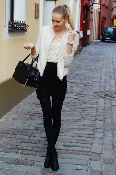 black H&M boots - cream H&M jacket - black H&M bag - white Ebay blouse