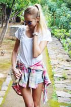 white H&M shirt - salmon Zara shirt - sky blue Bershka shorts