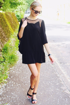black H&M dress - black H&M bag - black H&M sunglasses - black H&M sandals