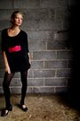 Black-h-m-cardigan-black-new-yorker-dress-pink-new-yorker-belt