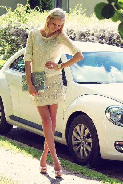 cream H&M sweater - silver H&M bag - off white H&M skirt - cream Ebay watch