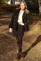 dark brown Primark boots - black Primark coat - black H&M tights
