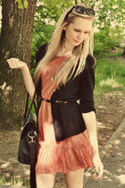 black seppala bag - peach Primark dress - black clockhouse sunglasses