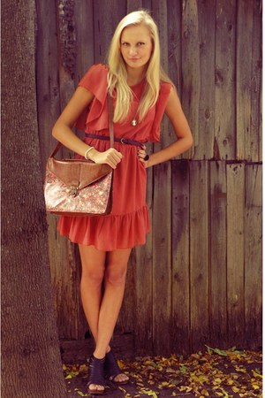 brown Primark bag - salmon Primark dress - black Super Street Shoes heels