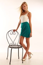 teal H&M skirt - cream Zara heels - white H&M top