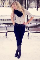 black self-made scarf - black Danija boots - navy Cubus jeans