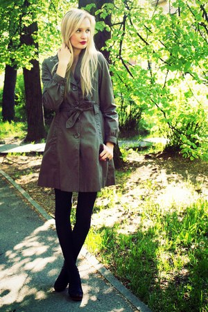 dark brown H&amp;M coat - black H&amp;M tights - black Super Street Shoes heels