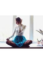 white Ebay top - turquoise blue Ebay ring - turquoise blue Ebay skirt