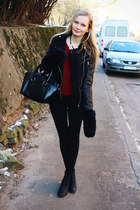 brick red JollyChic sweater - black H&M boots - black H&M jeans