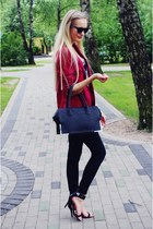black Zara jeans - ruby red H&M blazer - black H&M bag