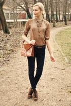 dark brown Primark boots - black New Yorker jeans - dark brown Primark bag