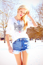 white H&M shirt - blue Bik Bok shorts - silver Cubus necklace