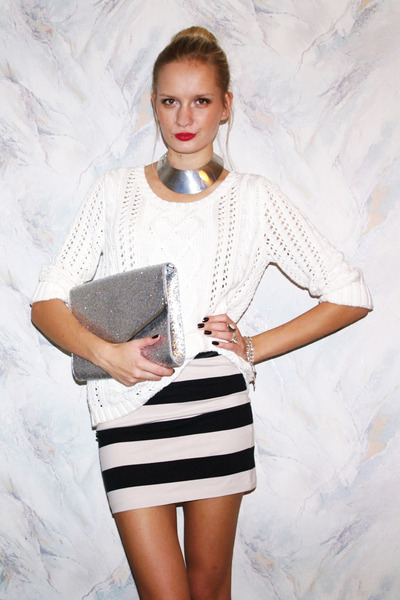 silver H&M bag - white Pimkie sweater - H&M skirt - silver Cubus necklace