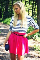 hot pink New Yorker skirt - white Zara shirt - black Mango bag