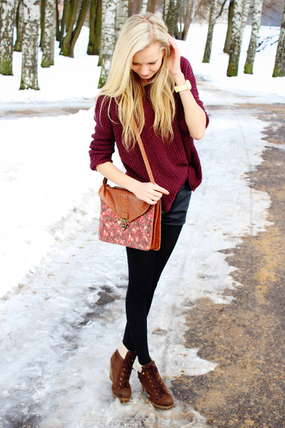 maroon New Yorker sweater - dark brown Primark boots - maroon Primark bag