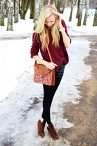 maroon Primark bag - dark brown Primark boots - maroon New Yorker sweater