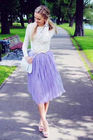 white H&M bag - violet tulle PERSUNMALL skirt - white PERSUNMALL bracelet