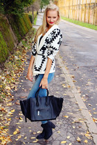 white Choies cardigan - black H&M boots - blue H&M jeans - black PERSUNMALL bag