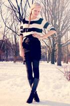 black Danija boots - black Mango sweater - black H&M skirt