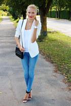 white H&M blazer - blue H&M jeans - black Zara heels - ivory Ebay watch