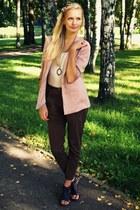 dark brown Zara pants - pink Zara blazer - ivory Terranova shirt