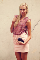 pink Pimkie blouse - black Mango bag - light pink Terranova skirt