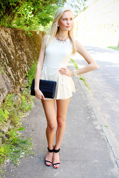 black H&M bag - black Zara heels - white Sheinside romper