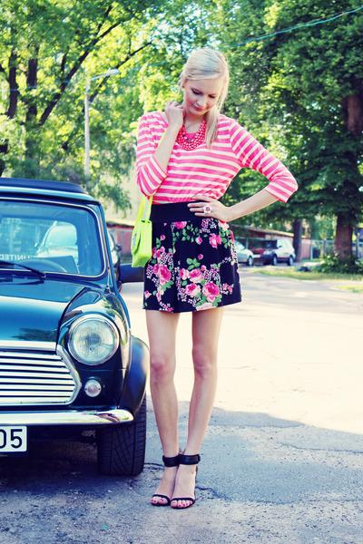 hot pink H&M shirt - chartreuse H&M bag - black Zara heels