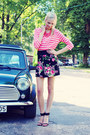 Hot-pink-h-m-shirt-chartreuse-h-m-bag-black-zara-heels